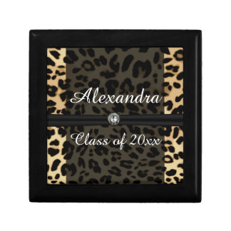 Custom Black Leopard Ribbon Jewel Girl Graduation Keepsake Box