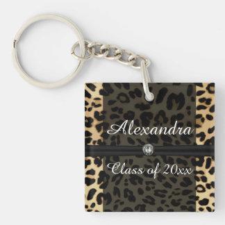 Custom Black Leopard Ribbon Jewel Girl Graduation Keychain