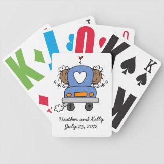 Custom Black Lesbian Wedding Playing Cards