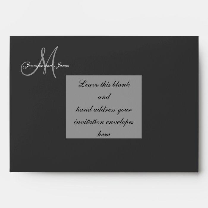 Custom Black Monogram Wedding Invitation Envelope