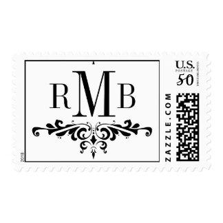 Custom Black Monogram Wedding Postage Stamp
