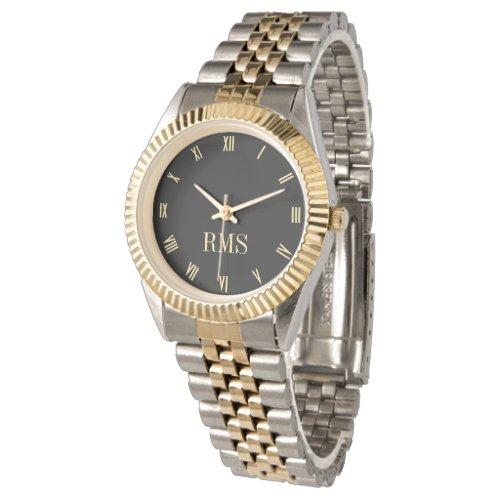 Custom Black Monogrammed Gold Silver Tone Bracelet Wristwatch