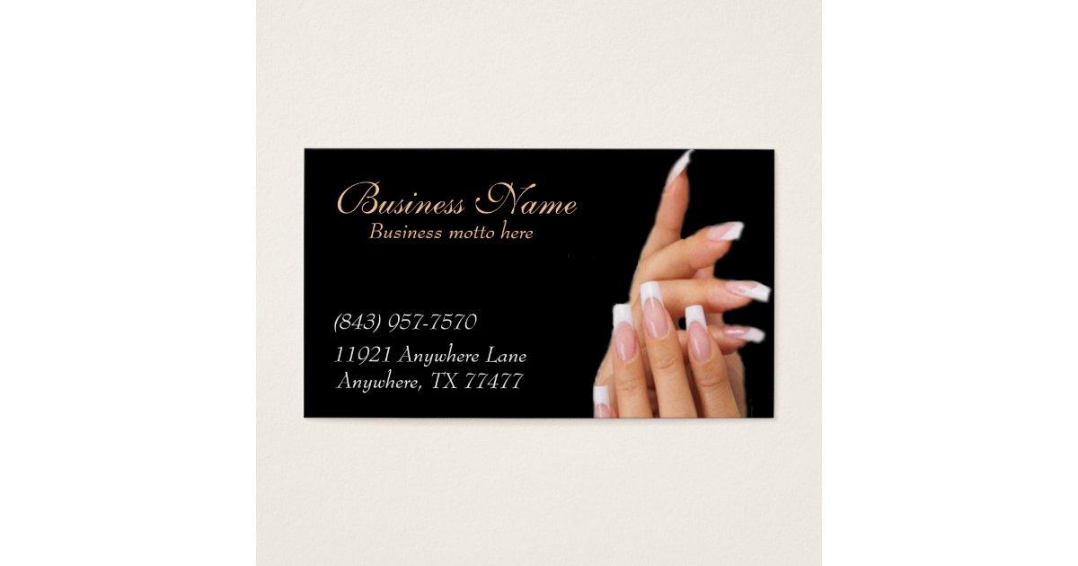 Custom Black Nail Salon Business Cards | Zazzle.com