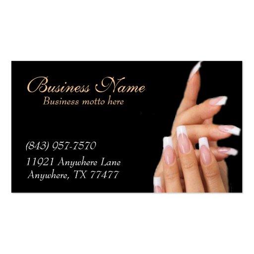 Custom Black Nail Salon Business Cards