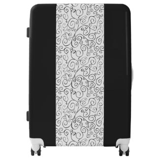 Custom Black Painted Curvy Pattern on White Luggage