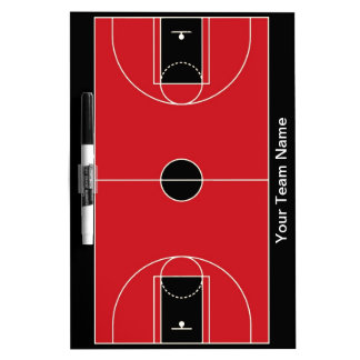 Custom black red basketball dry erase board