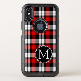 Custom Black Red Lumberjack Tartan Plaid Pattern OtterBox Commuter iPhone X Case