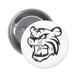 Custom Black Roaring Tiger Sports Logo Button