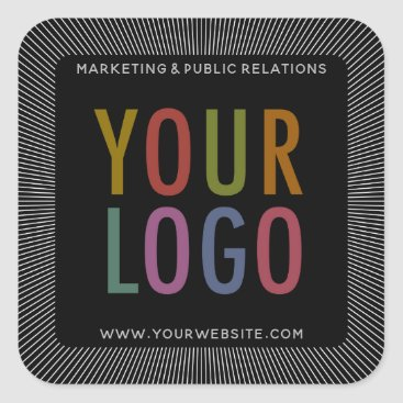 Professional Business Custom Black Square Stickers with Company Logo