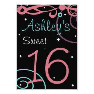 Custom Black Sweet 16 Birthday Party Invitations