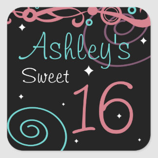 Custom Black Sweet 16 Birthday Party Stickers
