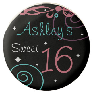 Custom Black Sweet 16 Birthday Party Treats Chocolate Covered Oreo