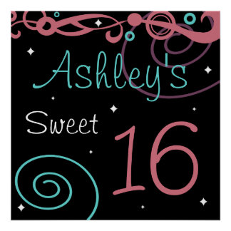 Custom Black Sweet 16 Birthday Party Wall Decor