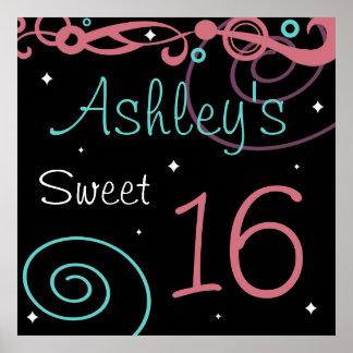 Custom Black Sweet 16 Birthday Party Wall Decor Poster