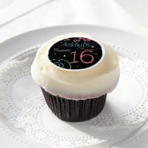 Custom Black Sweet 16 Cupcake Toppers Edible Frosting Rounds