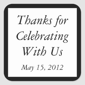Custom Black Thank You Stickers and Favor Labels Stickers