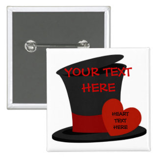 Custom Black Top Hat 2 Inch Square Button