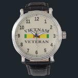"""Custom Black Vintage Leather (Vietnam Veteran) Watch<br><div class=""""desc"""">Custom Black Vintage Leather (Vietnam Veteran) Vietnam Veteran Watch Beautiful gift for Vietnam Veterans.</div>"""