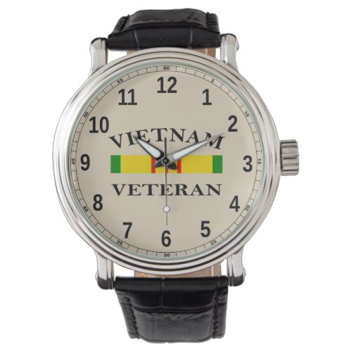 Custom Black Vintage Leather (Vietnam Veteran) Watch