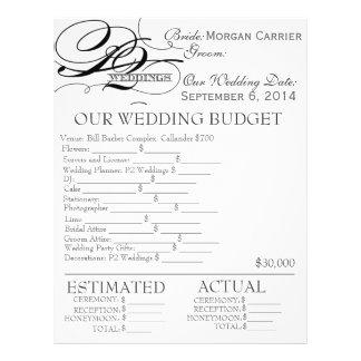 wedding plan sheet