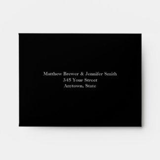 Custom Black Wedding Reply Envelope with Address