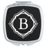 Custom Black & White Monogram Compact Mirror