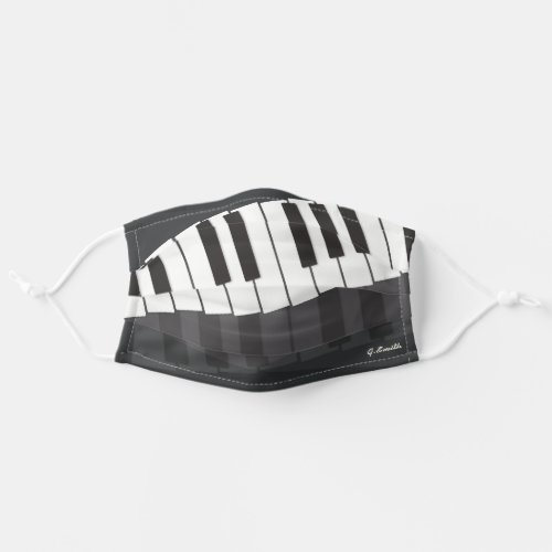 Custom Black  White Piano Keyboard Add Your Name Adult Cloth Face Mask