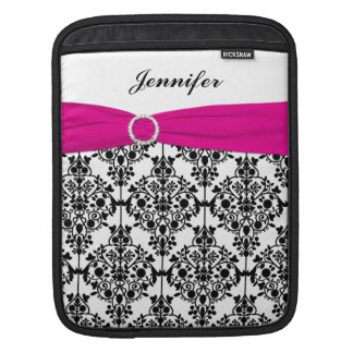 Custom Black, White, Pink Damask with FAUX Ribbon Sleeve For iPads