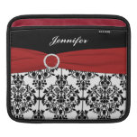 Custom Black, White, Red Damask with FAUX Ribbon Sleeves For iPads