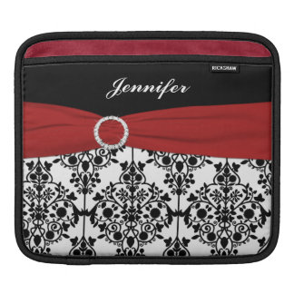 Custom Black, White, Red Damask with FAUX Ribbon Sleeve For iPads
