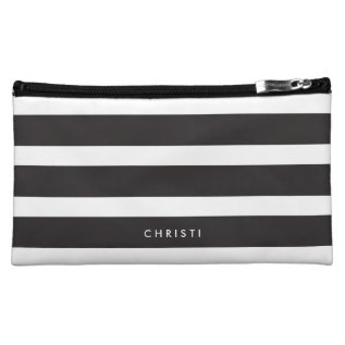 Custom Black & White Striped Makeup Bag at Zazzle