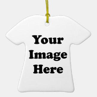 Custom Blank Template T-Shirt Ceramic Ornament
