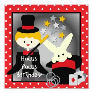 """Custom Blond Boy Hocus Pocus Birthday Invites 5.25"""" Square Invitation Card"""