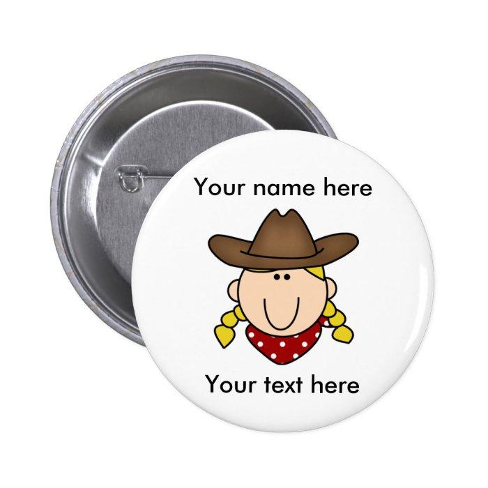 Custom Blond Cowgirl Pinback Button