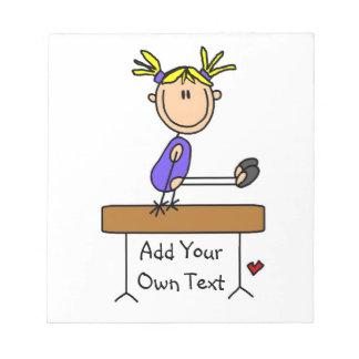Custom Blond Girl Gymnast on Balance Beam Note Pad