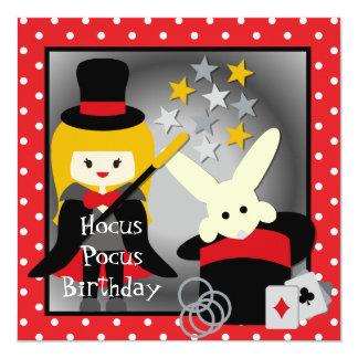 """Custom Blond Girl Hocus Pocus Birthday Invites 5.25"""" Square Invitation Card"""