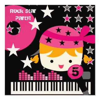 "Custom Blond Girls Rock Star Birthday Invitations 5.25"" Square Invitation Card"