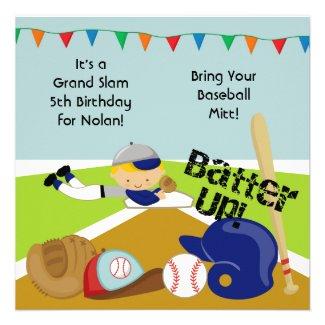 Custom Blond Hair Boy Baseball Birthday Invitation