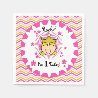 Custom Blond Princess 1st Birthday Paper Napkins