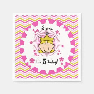 Custom Blond Princess 5th Birthday Paper Napkins