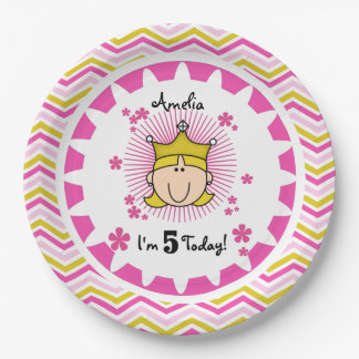 Custom Blond Princess 5th Birthday Paper Plates