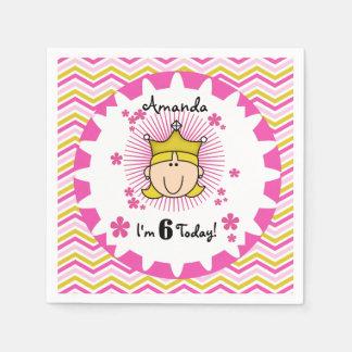 Custom Blond Princess 6th Birthday Paper Napkins