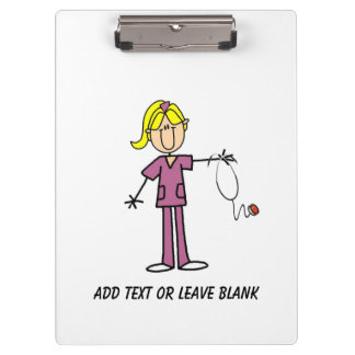 Custom Blond Stick Figure Nurse Clipboard