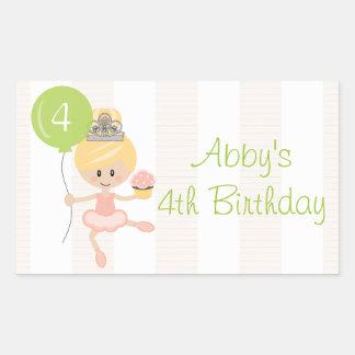 Custom Blonde Ballerina Birthday Rectangular Sticker