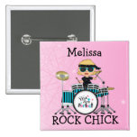 Custom Blonde Drummer Girl with Stars on Pink Pinback Buttons