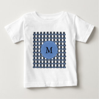 Custom Blue Abstract Scarab Pattern Monogram Baby T-Shirt