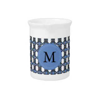 Custom Blue Abstract Scarab Pattern Monogram Beverage Pitcher