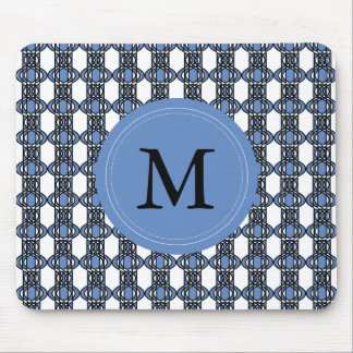 Custom Blue Abstract Scarab Pattern Monogram Mouse Pad