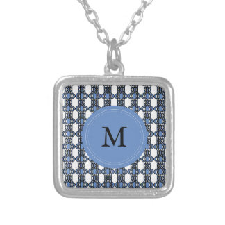 Custom Blue Abstract Scarab Pattern Monogram Silver Plated Necklace
