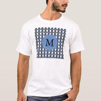Custom Blue Abstract Scarab Pattern Monogram T-Shirt